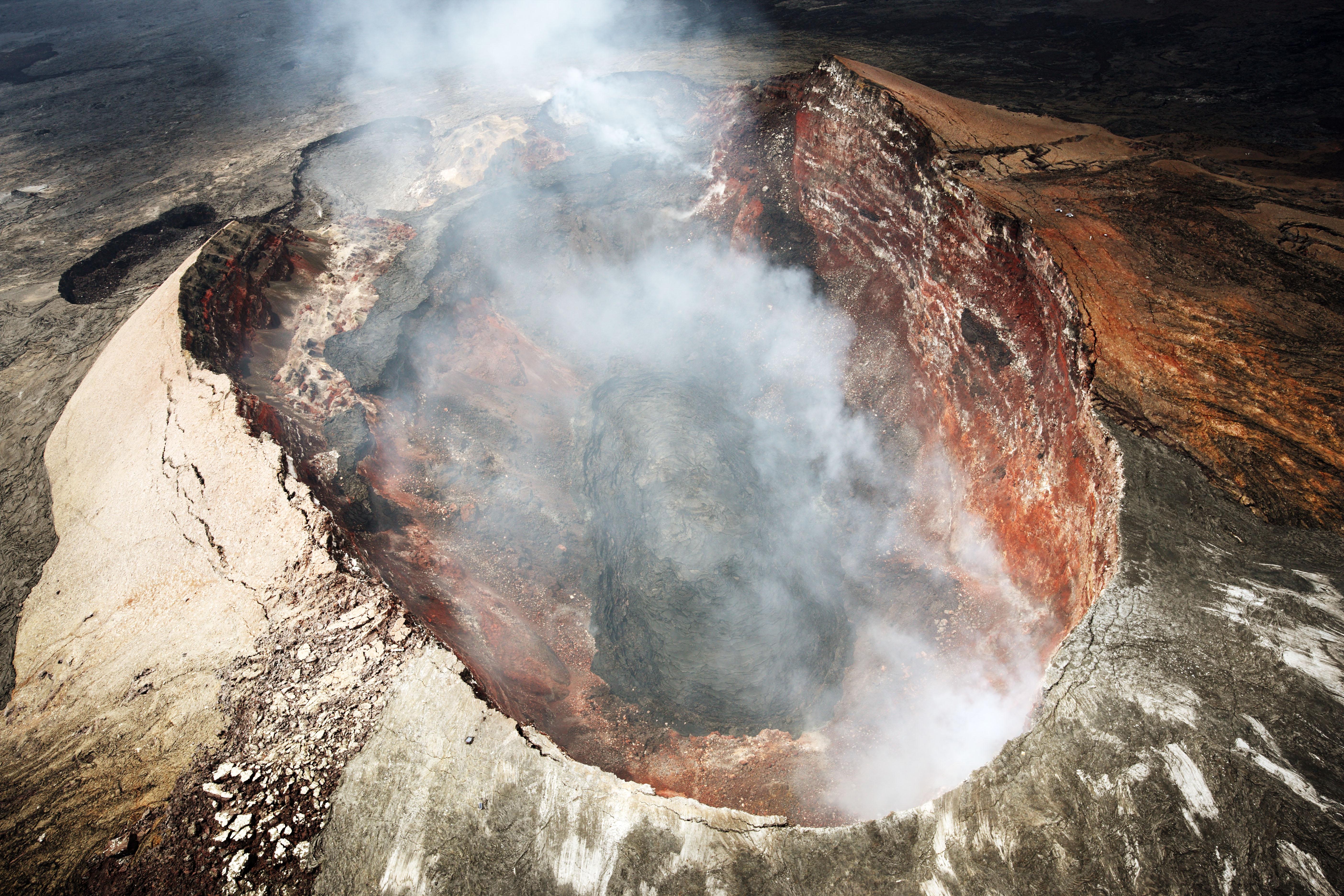 fotografia, materiale, libero il panorama, dipinga, fotografia di scorta,Mt. Kilauea, Lavico, Il cratere, Puu Oo, Fumo