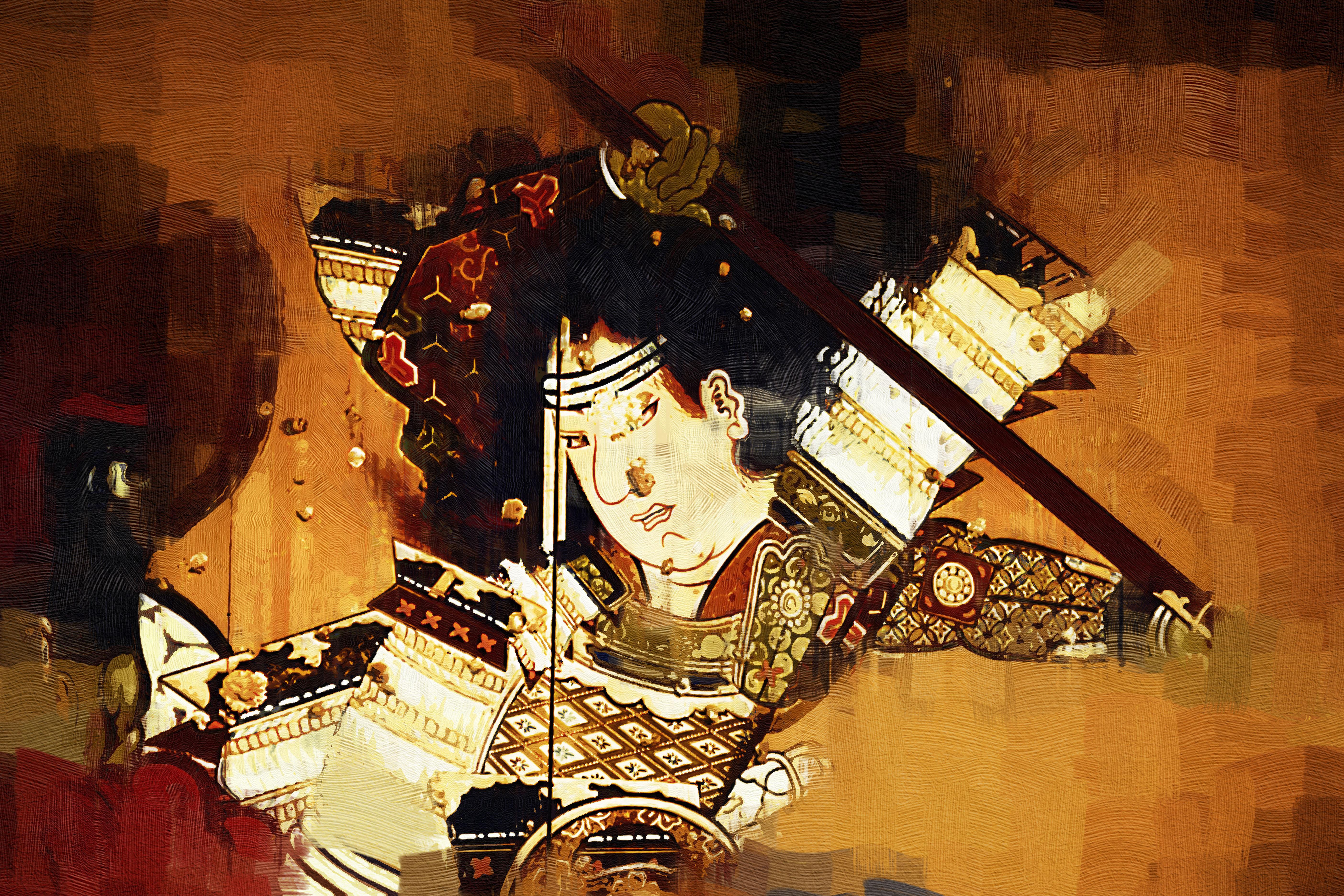 浮世絵風の侍。