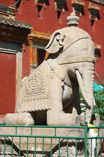 photo,material,free,landscape,picture,stock photo,Creative Commons,A XumiFushouTemple elephant image, An elephant, , monument, Tibetan Buddhism