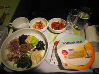 photo,material,free,landscape,picture,stock photo,Creative Commons,An in-flight meal, Kimchi, Korean food, glass, Rice