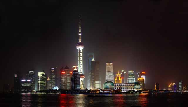 photo,material,free,landscape,picture,stock photo,Creative Commons,A night view of Shanghai, Watch east light ball train; a tower, river, Neon, I light it up