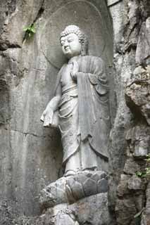 photo,material,free,landscape,picture,stock photo,Creative Commons,A HangzhouLingyingTemple image of Buddha inscribed on the polished cliff, Buddhism, Ishibotoke, Buddhist image, Faith