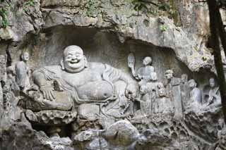 photo,material,free,landscape,picture,stock photo,Creative Commons,It is a seated figure in HangzhouLingyingTemple green wood antral west rock face, Buddhism, Ishibotoke, Buddhist image, Faith