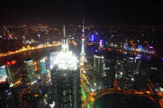 photo,material,free,landscape,picture,stock photo,Creative Commons,A night view of Shanghai, superb view, I light it up, Watch east light ball train; a tower, skyscraper