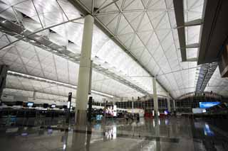 photo,material,free,landscape,picture,stock photo,Creative Commons,Hong Kong International Airport, pillar, roof, An airplane,