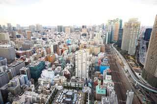 photo,material,free,landscape,picture,stock photo,Creative Commons,Tokyo panorama, building, The downtown area, Shiodome, track