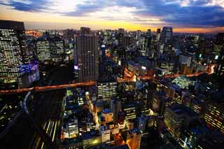 photo,material,free,landscape,picture,stock photo,Creative Commons,Tokyo night view, building, The downtown area, Tamachi, sunset