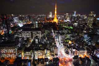photo,material,free,landscape,picture,stock photo,Creative Commons,Tokyo night view, building, The downtown area, Tokyo Tower, Akasaka