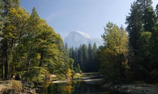 photo,material,free,landscape,picture,stock photo,Creative Commons,Quiet Half Dome of autumn, river, mountain, forest, Panoramcomposition