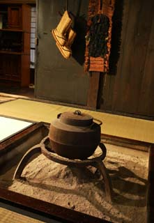photo,material,free,landscape,picture,stock photo,Creative Commons,Room in hearth, Japanese-style room, iron kettle, Ash,
