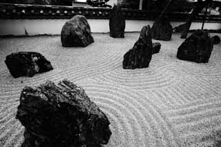 photo,material,free,landscape,picture,stock photo,Creative Commons,A rock garden of a light temple belonging to the Zen sect, dry landscape Japanese garden, rock garden, sand design,