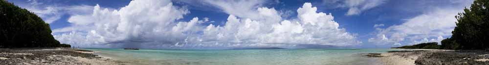 photo,material,free,landscape,picture,stock photo,Creative Commons,Beach whole view of sand of a star, panorama, cloud, blue sky, Emerald green
