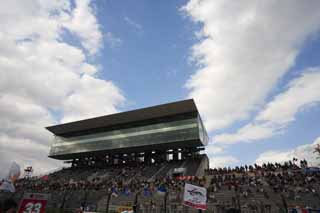 photo,material,free,landscape,picture,stock photo,Creative Commons,The sky of Suzuka Circuit, main stadium, blue sky, seat,