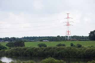 photo,material,free,landscape,picture,stock photo,Creative Commons,Memory of Kasukabe, High-voltage line, river, steel tower,