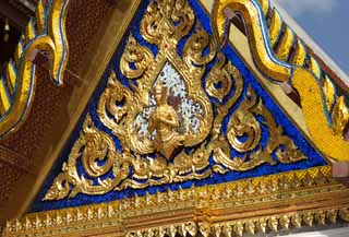 photo,material,free,landscape,picture,stock photo,Creative Commons,Golden decoration of Temple of the Emerald Buddha, Gold, Buddha, Temple of the Emerald Buddha, Sightseeing