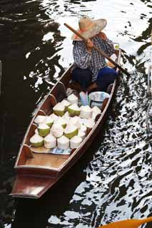 photo,material,free,landscape,picture,stock photo,Creative Commons,A ship of coconut selling, market, Buying and selling, boat,