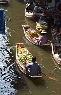 photo,material,free,landscape,picture,stock photo,Creative Commons,Fruit selling of water market, market, Buying and selling, boat,