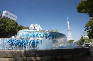 photo,material,free,landscape,picture,stock photo,Creative Commons,Nagoya Television Tower and a fountain, television tower, An electric wave, TV, Television