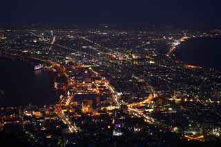 photo,material,free,landscape,picture,stock photo,Creative Commons,A night view of Mt. Hakodate-yama, Illuminations, An observatory, town light, port town