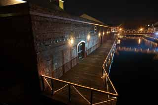 photo,material,free,landscape,picture,stock photo,Creative Commons,The night of a red brick warehouse, red brick, warehouse, The history, port