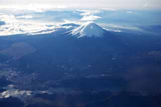 photo,material,free,landscape,picture,stock photo,Creative Commons,Mt. Fuji, Mt. Fuji, Singularity, Japanese wistaria, An aerial photograph
