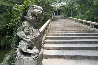 photo,material,free,landscape,picture,stock photo,Creative Commons,The pair of stone guardian dogs of HuQiu, Stairs, stone, Decoration,