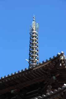 photo,material,free,landscape,picture,stock photo,Creative Commons,Five Storeyed Pagoda tip, Buddhism, Five Storeyed Pagoda, wooden building, blue sky