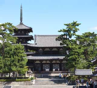 photo,material,free,landscape,picture,stock photo,Creative Commons,Horyu-ji Temple, Buddhism, gate built between the main gate and the main house of the palace-styled architecture in the Fujiwara period, Five Storeyed Pagoda, Buddhist image