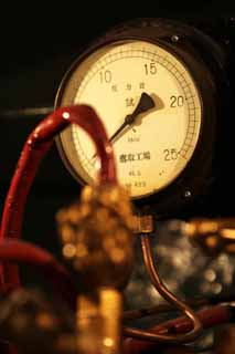 photo,material,free,landscape,picture,stock photo,Creative Commons,A steam engine, Steam, The plumbing, pressure gauge, meter