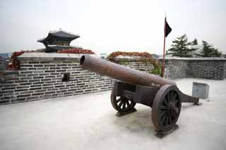 photo,material,free,landscape,picture,stock photo,Creative Commons,It is the Chang'an gate in a cannon, castle, Military affairs, weapon, castle wall