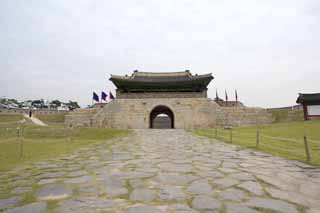 photo,material,free,landscape,picture,stock photo,Creative Commons,ChangRyong-gate, castle, flag, brick, castle wall