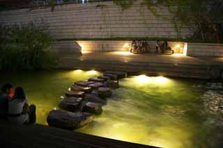 photo,material,free,landscape,picture,stock photo,Creative Commons,The night of the crystal rill River, Crystal rill River, building, city, waterside