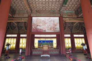 photo,material,free,landscape,picture,stock photo,Creative Commons,An Emperor's chair of Kyng-bokkung, wooden building, world heritage, King, cushion