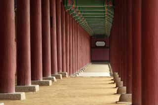 photo,material,free,landscape,picture,stock photo,Creative Commons,A corridor of Kunjongjon, pillar, beam, corridor, Time