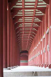photo,material,free,landscape,picture,stock photo,Creative Commons,The row of pillars of Tadashi, Jongmyo Shrine, Religious service, First Emperor, the Imperial Ancestral Temple