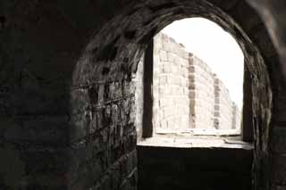 photo,material,free,landscape,picture,stock photo,Creative Commons,Great Wall window, Walls, Lou Castle, Brick, Barrier