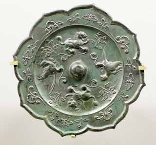 photo,material,free,landscape,picture,stock photo,Creative Commons,Bronze Mirror with Design of Animals and Phoenixes, Mirror, Circular, KAGAMI, Ancient China