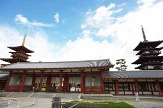 photo,material,free,landscape,picture,stock photo,Creative Commons,Yakushi-ji Temple gate built between the main gate and the main house of the palace-styled architecture in the Fujiwara period, I am painted in red, The Buddha of Healing, Buddhist monastery, Chaitya