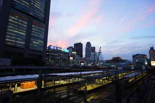 photo,material,free,landscape,picture,stock photo,Creative Commons,The dusk of Shinjuku Station, railroad, Shinjuku, high-rise building, city