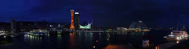 photo,material,free,landscape,picture,stock photo,Creative Commons,Kobe port night view, port, port tower, pleasure boat, tourist attraction