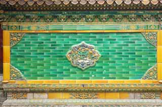 photo,material,free,landscape,picture,stock photo,Creative Commons,The wall of the old palace, tile, Ceramic ware, Relief, Bluish green
