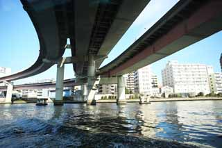 photo,material,free,landscape,picture,stock photo,Creative Commons,The bridge of the Metropolitan expressway, bridge, Sumida River descent, highway, Traffic
