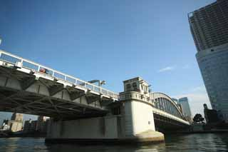 photo,material,free,landscape,picture,stock photo,Creative Commons,A shout of victory bridge, bridge, Sumida River descent, An iron bridge, Traffic
