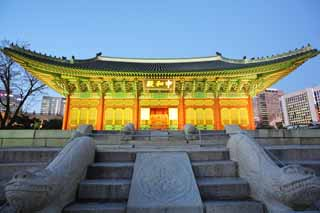 photo,material,free,landscape,picture,stock photo,Creative Commons,The virtue Kotobuki shrine Hall of Central Harmony, palace building, I am painted in red, stone pavement, Tradition architecture