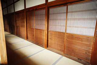 photo,material,free,landscape,picture,stock photo,Creative Commons,Ninna-ji Temple Shin-den, shoji, wooden building, Under the eaves, tatami mat