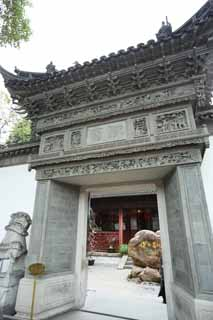photo,material,free,landscape,picture,stock photo,Creative Commons,The Yuyuan Garden gate, Joss house garden, , point on the abdomen, Chinese building