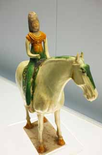 photo,material,free,landscape,picture,stock photo,Creative Commons,Tang tricolored earthenware coloring glaze Sue mounting a horse woman bad beginning, doll, I am bright, Masami, The history