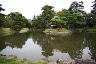 photo,material,free,landscape,picture,stock photo,Creative Commons,The pond of the Oyaku-en Garden feeling character, garden plant, Gardening, Japanese garden, pine