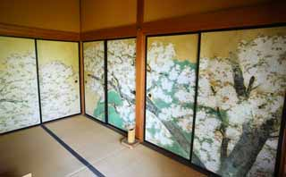 photo,material,free,landscape,picture,stock photo,Creative Commons,Kairaku-en Garden Yoshifumi bower, fusuma picture, cherry tree, picture, rest room