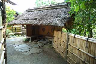 photo,material,free,landscape,picture,stock photo,Creative Commons,Kairaku-en Garden Yoshifumi bower, Thatch, Tea ceremony, Japanese-style building, rest room